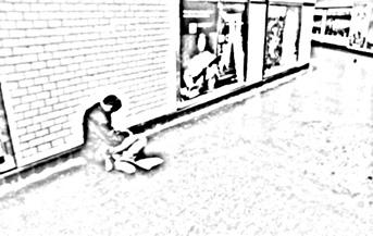 Mendigo en el metro LGV 2004