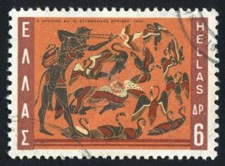 Grecia (hacia 1970)-sello-impreso-por-grecia-muestra-hercules-y-los-pajaros-del-estinfalo