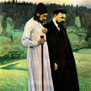 Nesterov. Retrato de Florenski y Bulgakov (1917)