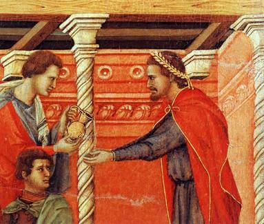 Pilato por Duccio maesta (detalle)