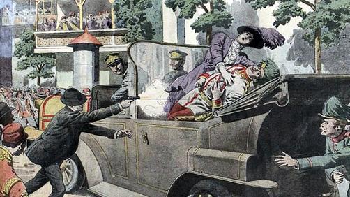 Asesinato del Archiduque Francisco Fernando y la duquesa Sofía. Ilustración de Le petit journal